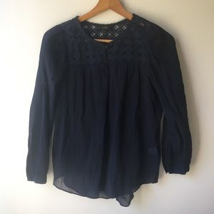 J. Crew Embroidered Gauze Top in Navy